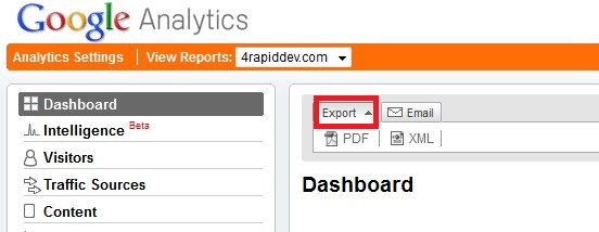 Google Analytics Export