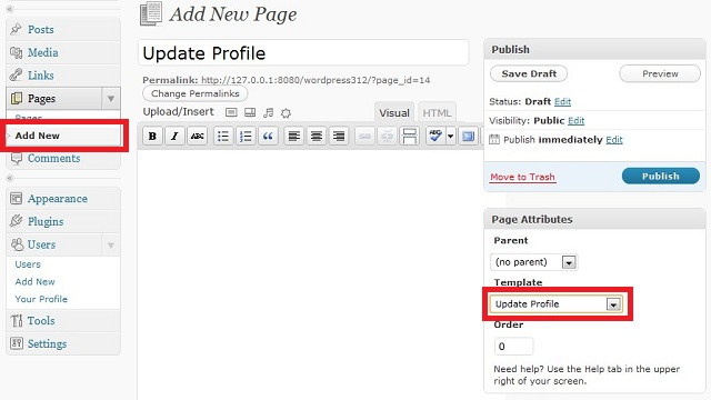 WordPress Create Custom Update Profile Page