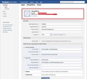 Facebook Find App ID and App Secret