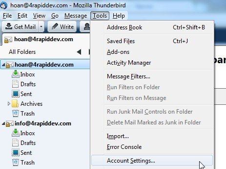 Thunderbird Tools Account Settings