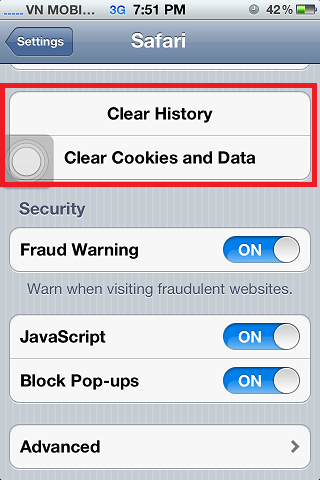 iPhone 4s Safari Clear History Cookies Websites Data