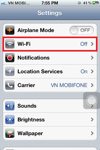 iPhone 4s WiFi Settings