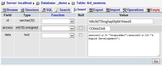 Session Table In MySQL Database