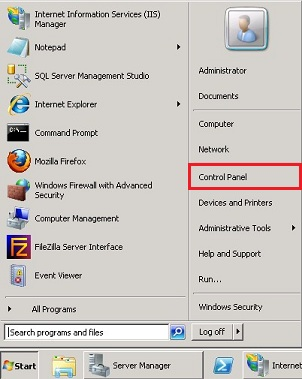 Windows Server 2008 Start Control Panel