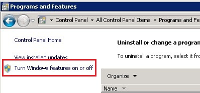 Windows Server 2008 Turn Windows Features on or off