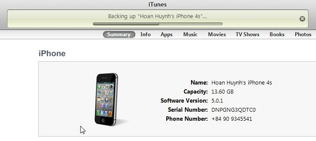 iTunes Backup iPhone 4s Process