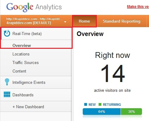 Access Google Analytics Real Time