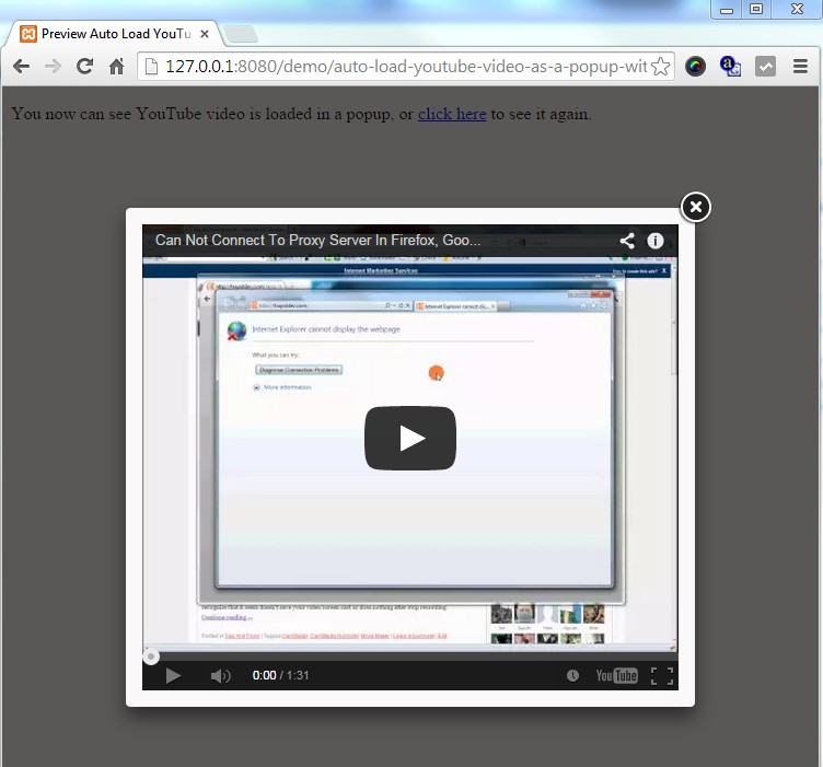 Auto Load YouTube Video As A Popup With JQuery FancyBox