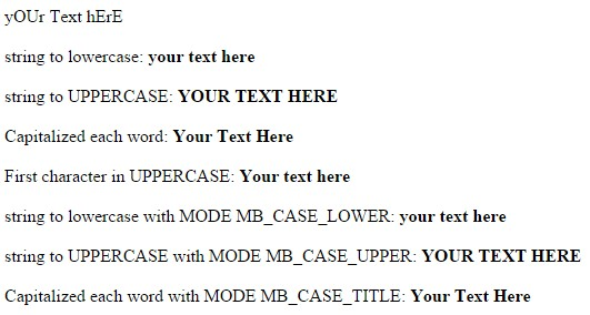 UTF-8 Change Text To UPPERCASE - Text To lowercase - Capitalize Each Word - UPPERCASE First Character