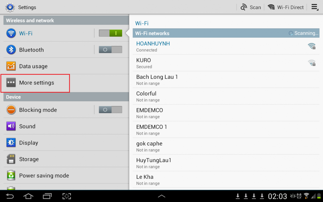 Samsum - Android - Wireless and network - More settings